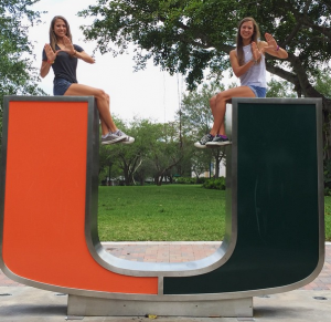 Emily (left) and Amanda Gale at the University of Miami.